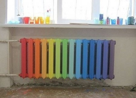 Декорирование батареи отопления  под радугу