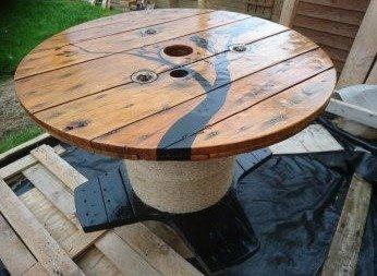 Оригинальный стол из кабельной катушки